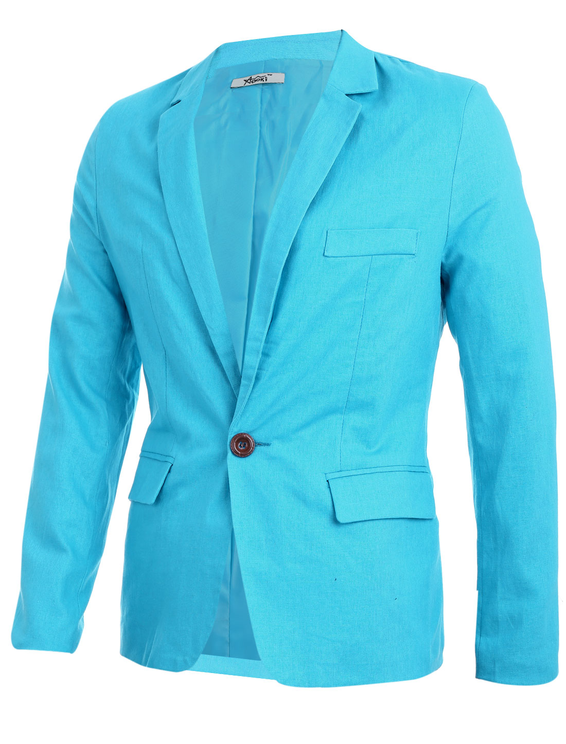 Men Slim Fit Notched Lapel Single Button Closure Casual Blazer Cyan M