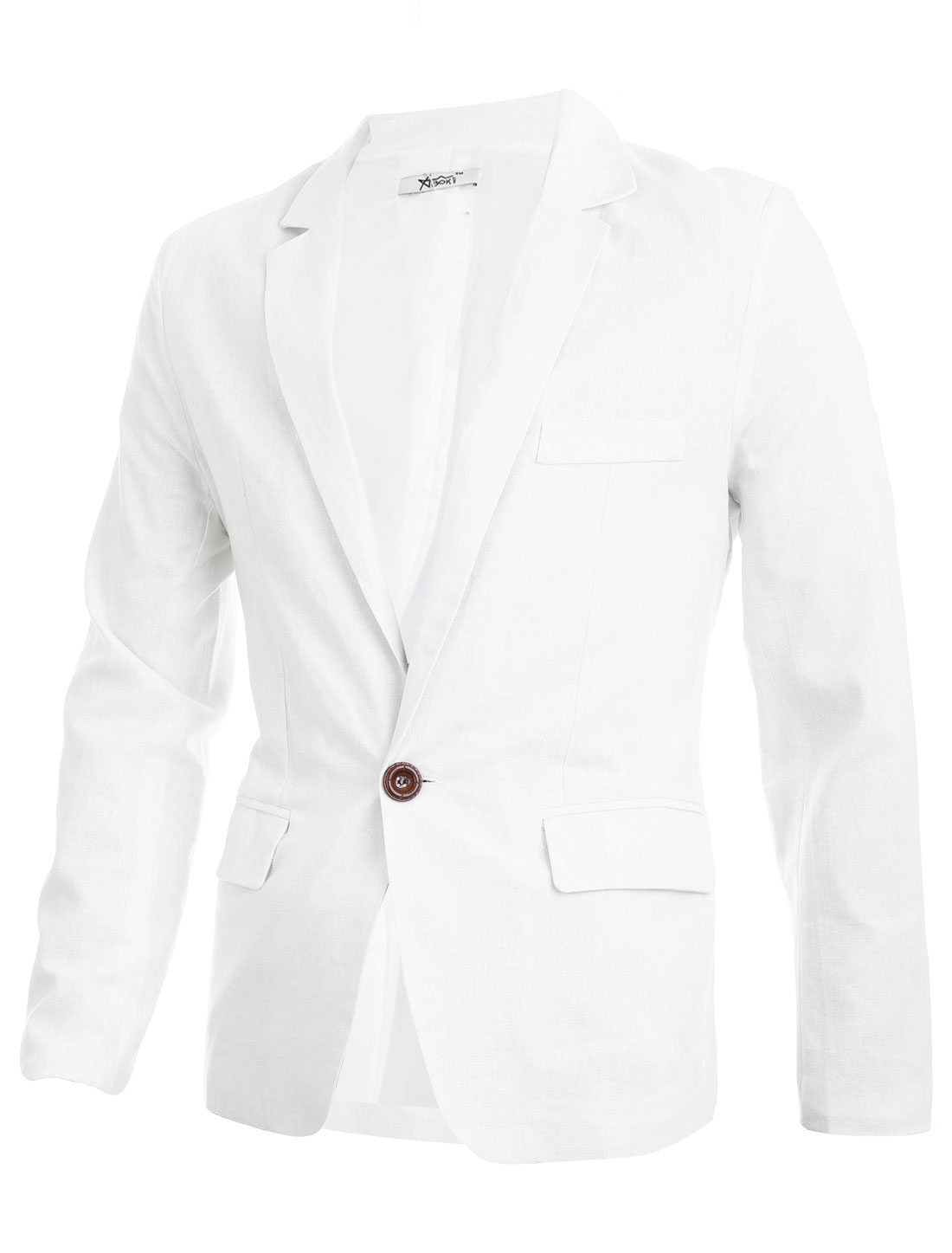 Men Slim Fit Notched Lapel Double Flap Pockets Casual Blazer White M