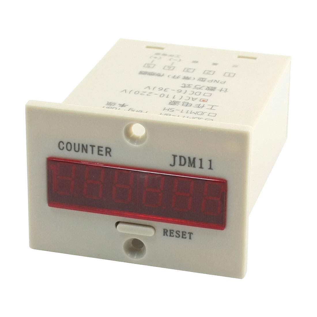 AC220V 5 Terminals 6-Digits LED Display Accumulator Counter 0-999999