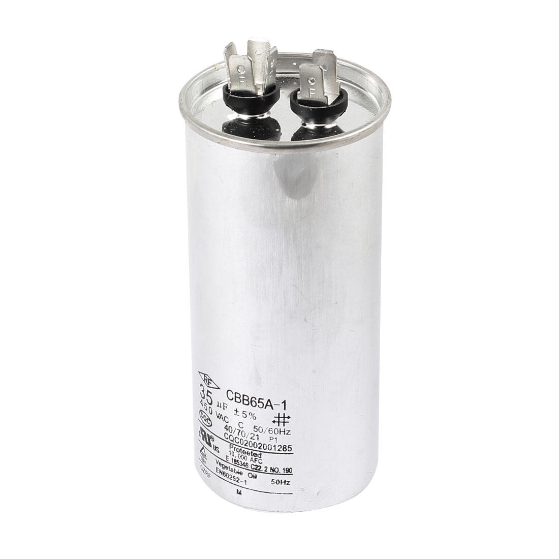 Cylinder Polypropylene Film Running Motor Capacitor CBB65A-1 AC450V 35uF 50/60Hz