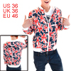 Men Red Navy Blue Stand Collar Long Sleeve British Flag Pattern Jacket S