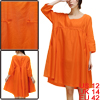 Motherhood Scoop Neck 3/4 Sleeve Casual Linen Dress Orange XL