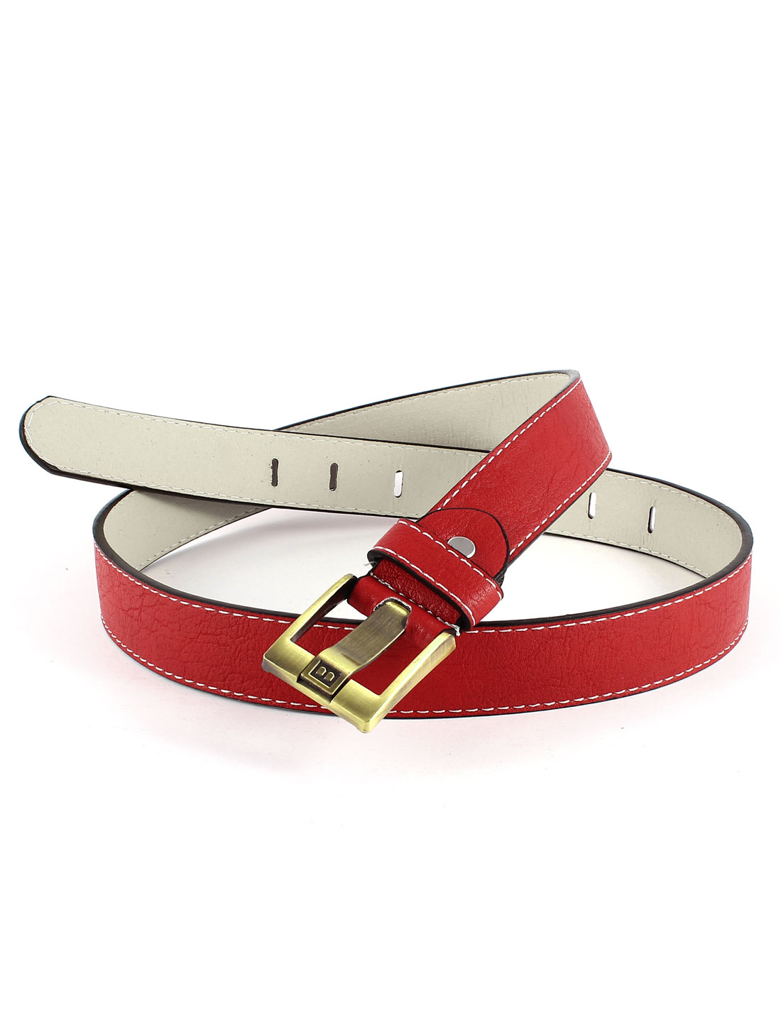 Lady Single Pin Buckle Red Faux Leather Adjustable Waist Belt Waistbelt
