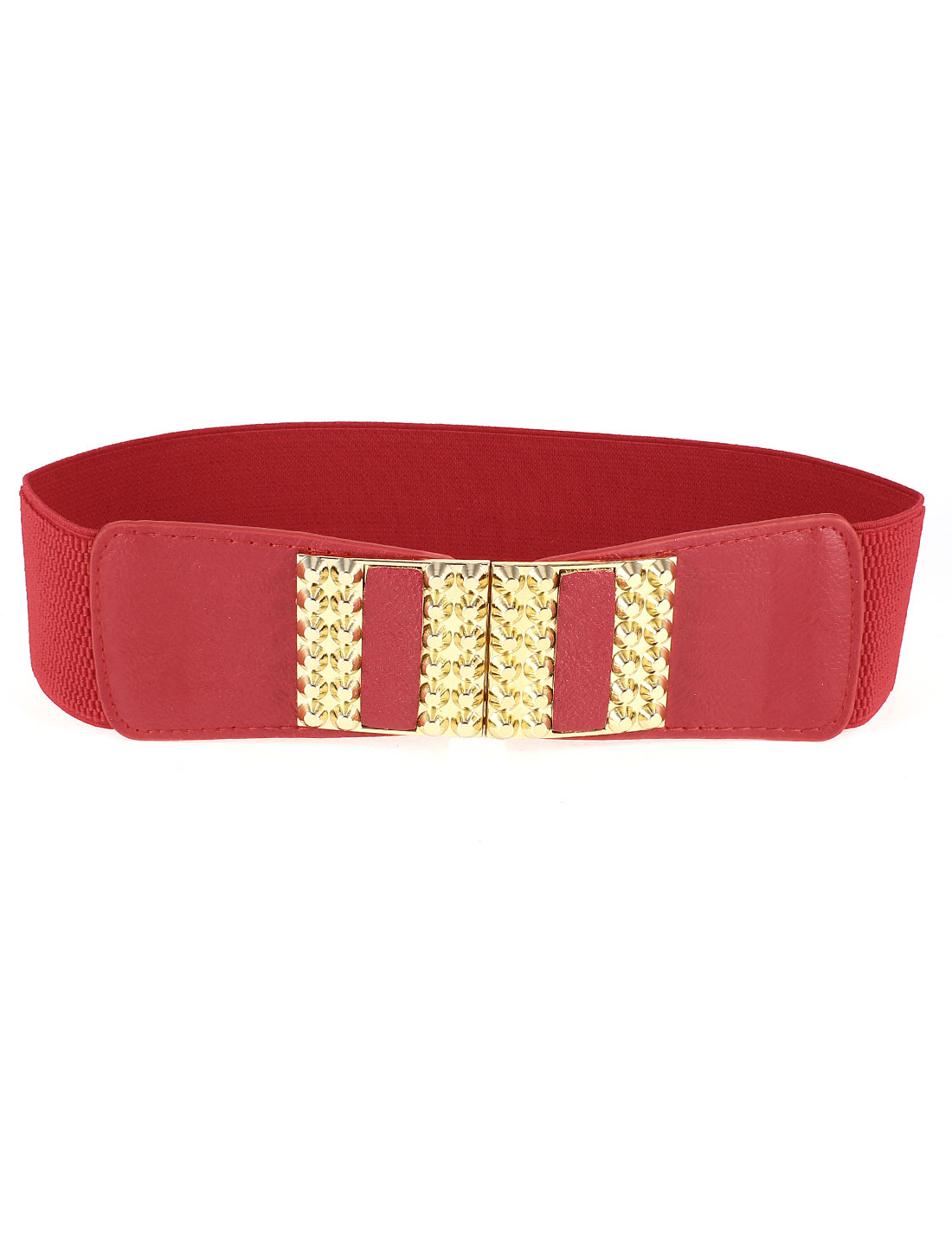 Lady Clinch Bolt Decor Buckle Elastic Waist Belt 6cm Wide Red