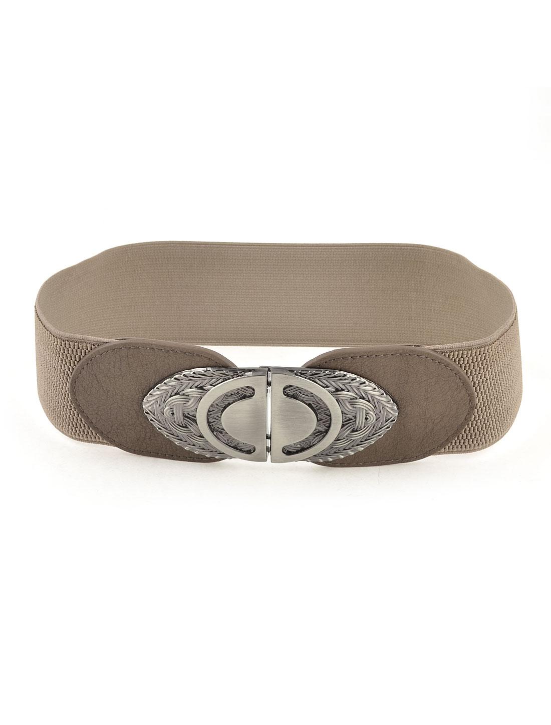 Women Gray Metal Buckle Detail Elastic Waist Cinch Belt Waspie Brown