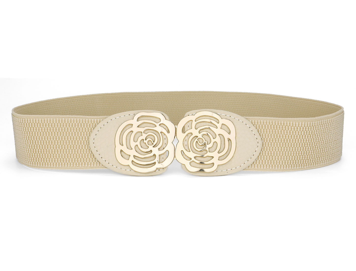 Lady Gold Tone Rose Decor Interlocking Buckle Cinch Belt Strap Beige