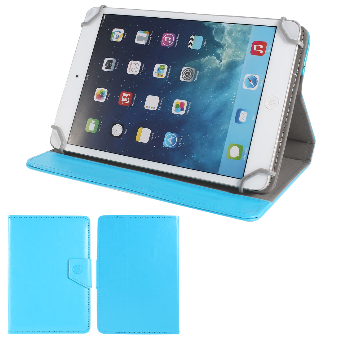 """Light Blue PU Leather Folio Case Cover Stand 7"""" for Kindle Fire HD"""