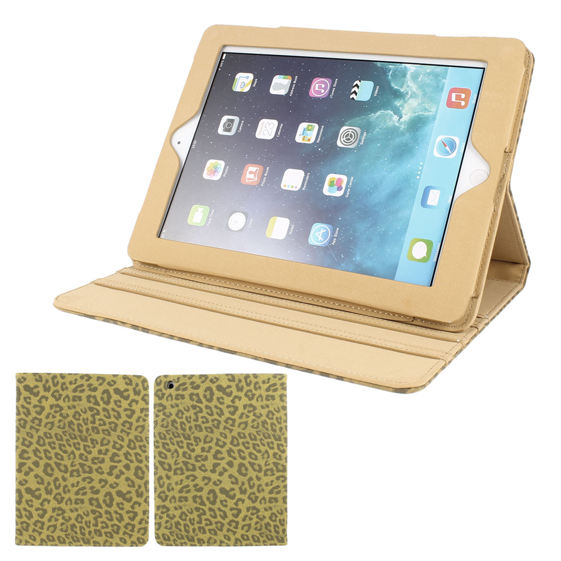 Khaki Textured Leopard Print PU Leather Folio Stand Case Cover Skin for iPad 2 3 4