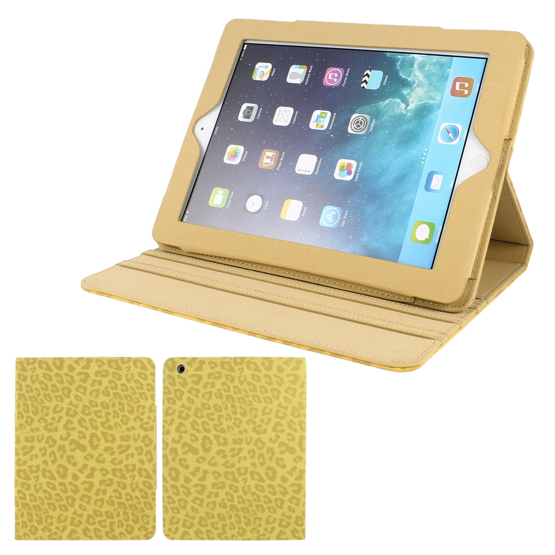 Yellow Textured Leopard Print PU Leather Folio Stand Case Cover Skin for iPad 2 3 4