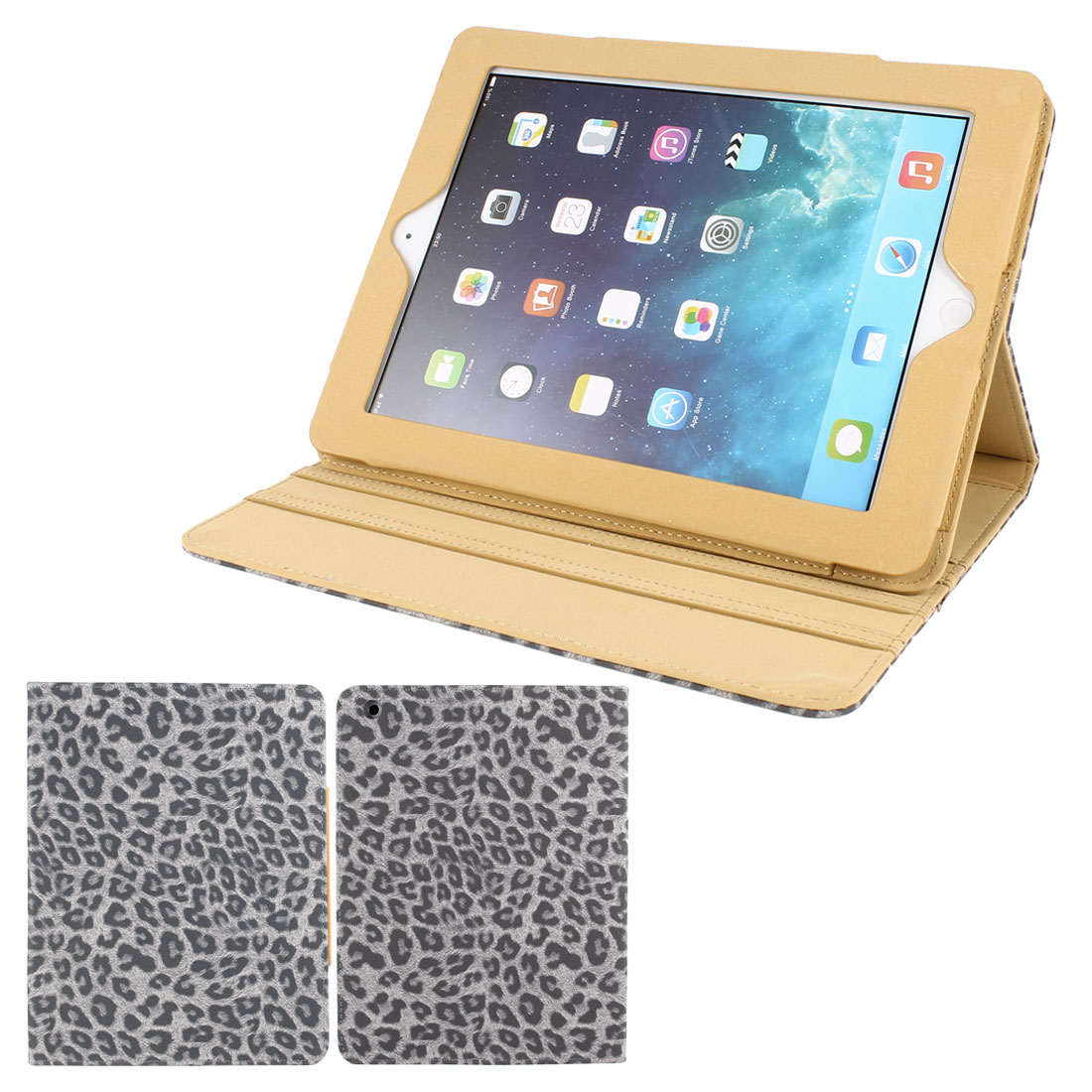 Gray Textured Leopard Print PU Leather Folio Stand Case Cover Skin for iPad 2 3 4