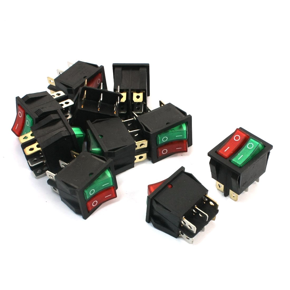 Red Green Light Double SPST 6 Pins Snap in Rocker Switch AC 250V 125V 10 Pcs