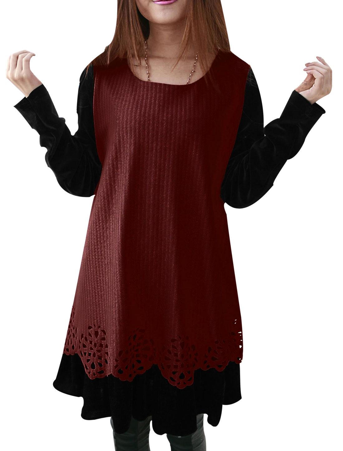 Pregnant Women Burgundy Panel Design Textured Lining Dress XL