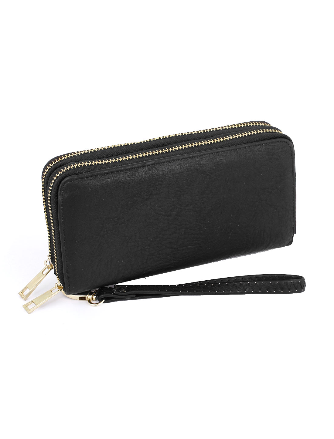 Lady Gold Tone Zippers Black Faux Leather Money Holder Wallet Purse