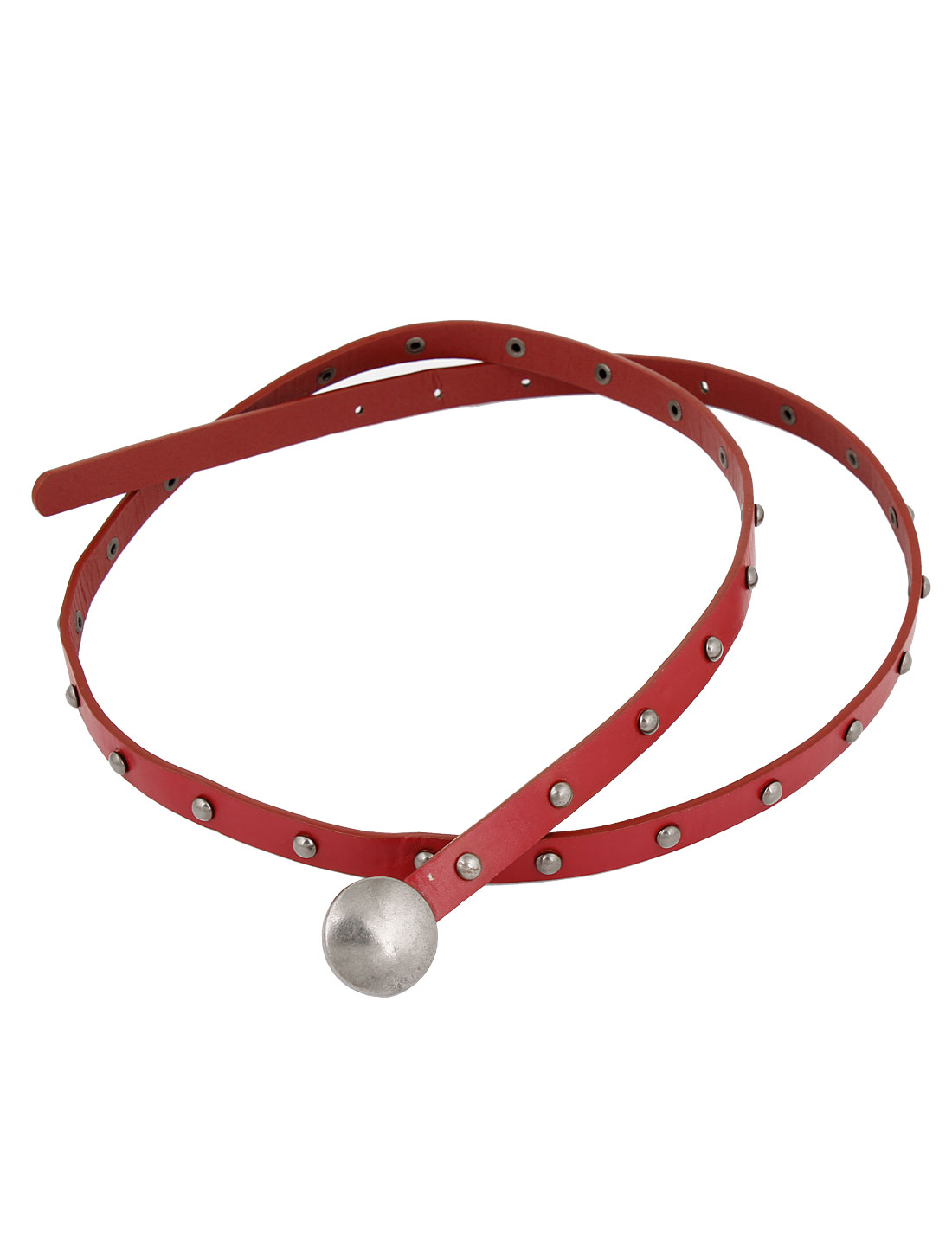 Lady Silver Tone Rivet Ornament Adjustable Faux Leather Wasit Belt Red