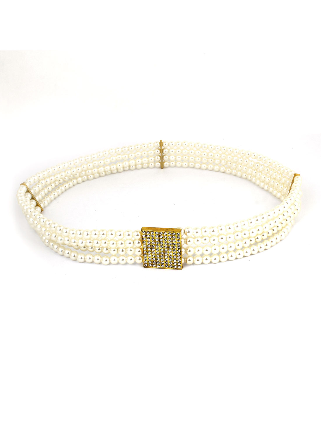 Women Faux Pearl Decor Elastic Waist Belt Waistband White