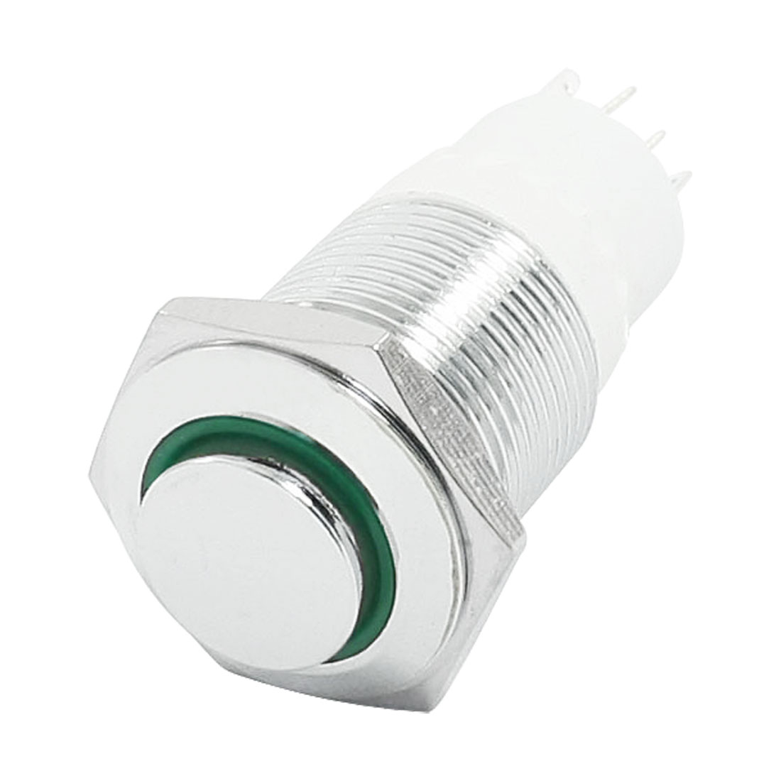 16mm SPDT 1NO 1NC Momentary Green LED Stainless Steel Push Button Switch 6V 3A