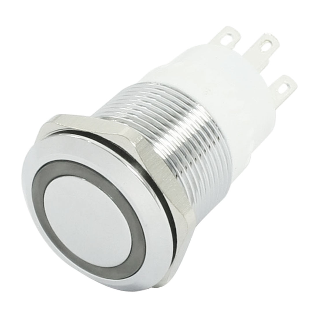19mm Thread SPDT Latching Red LED Stainless Steel Push Button Switch 24V 3A