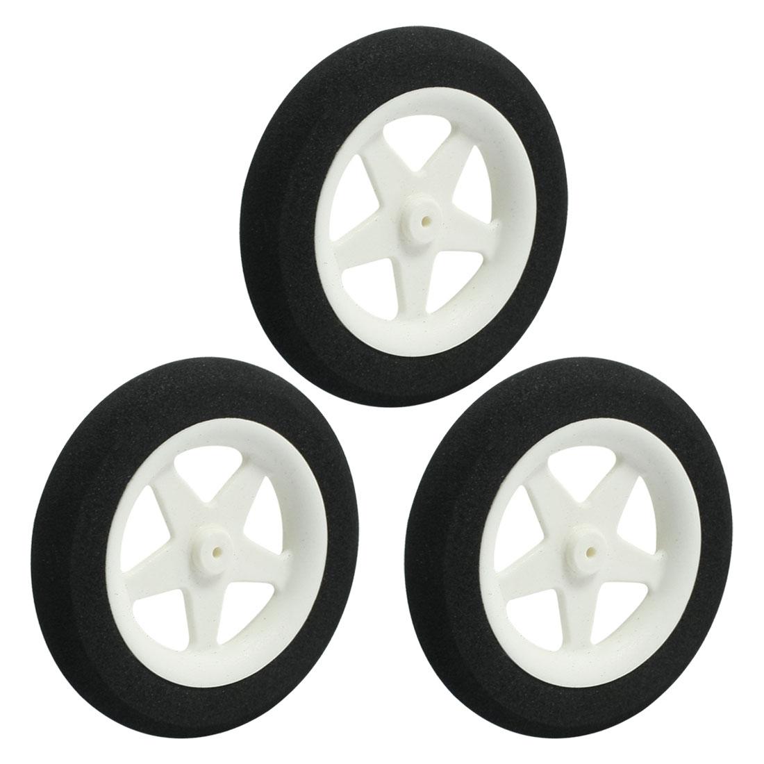 """3pcs RC Airplane Plastic Hub Landing Thin Sponge Spoke Tire Wheel 63.5mm 2.5"""""""