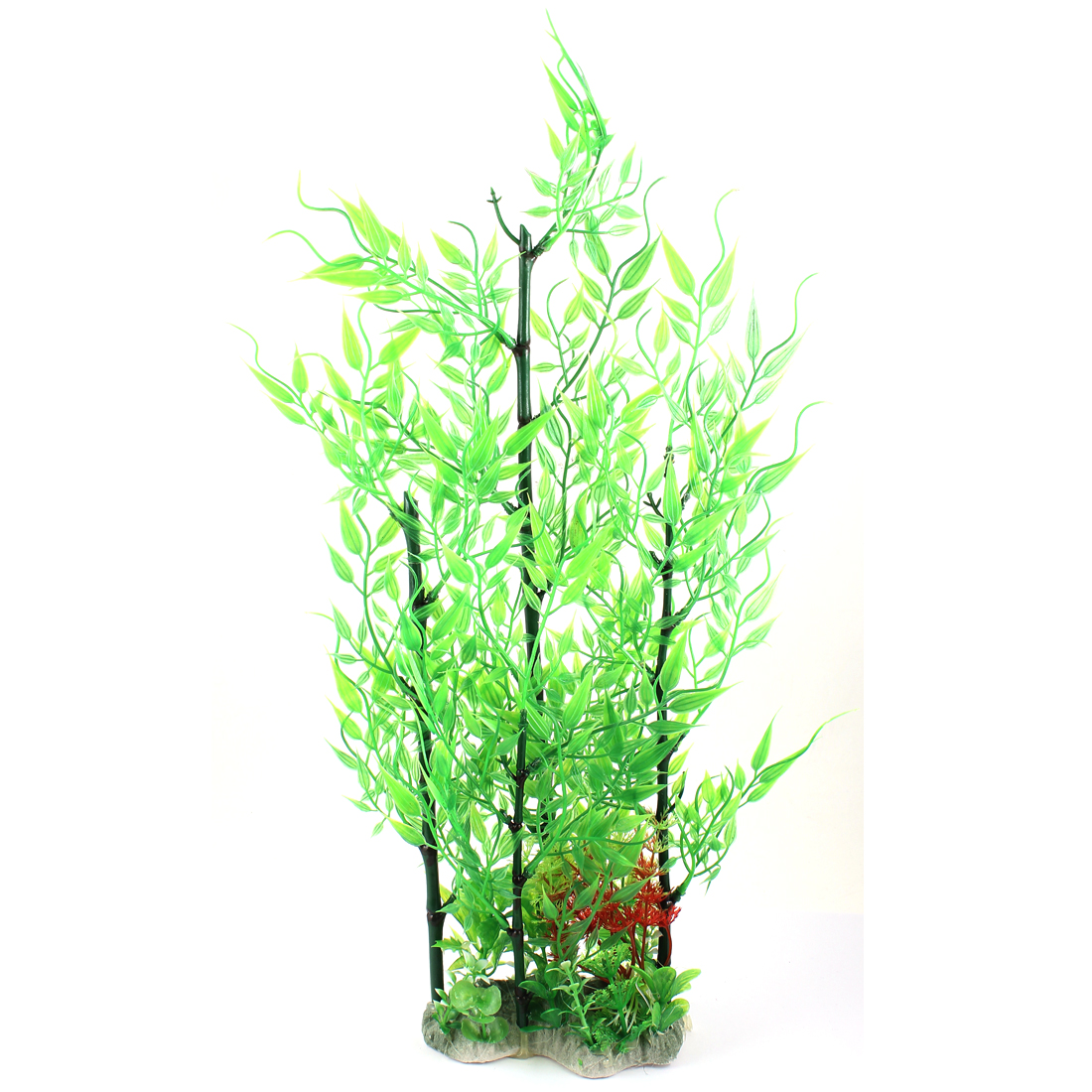 "18.9"" Height Bamboo Shape Manmade Green Plastic Plant for Aquarium"