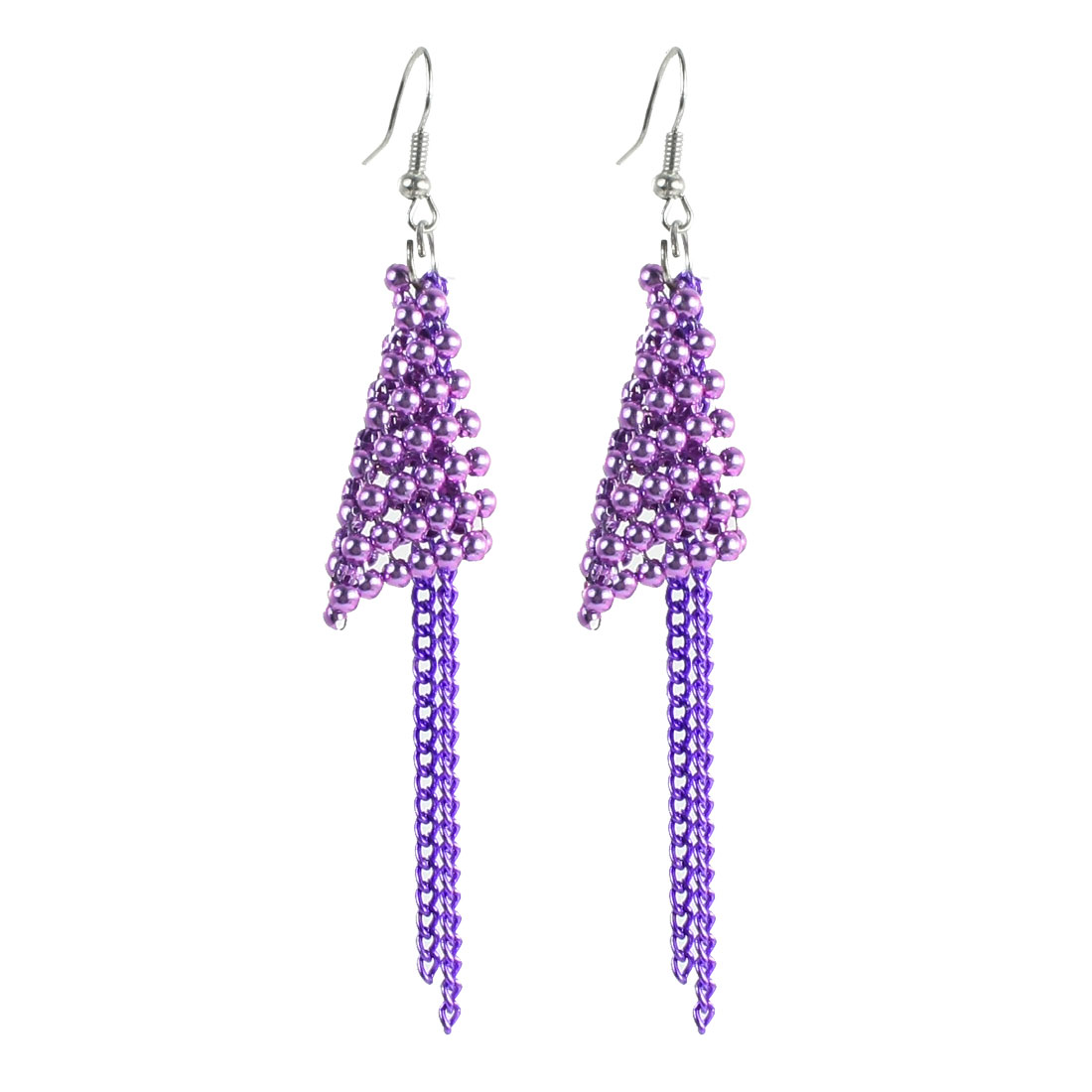 Pair Ear Ornament Purple Chain Detailing Beads Rhombus Hook Earrings