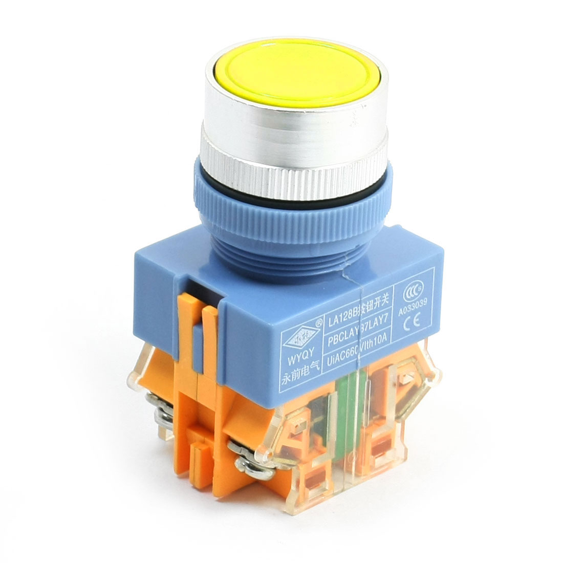 Panel Mounting Yellow Round Head Momentary DPST Emergency Stop Switch AC 660V 10A