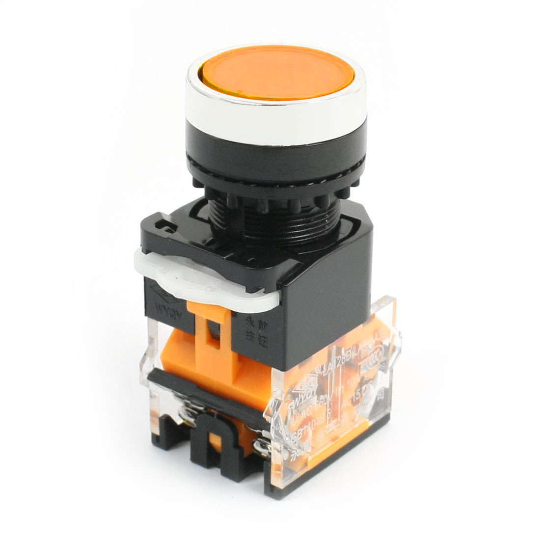Panel Mount Orange Round Cap Momentary DPST Emergency Stop Switch AC 660V 10A