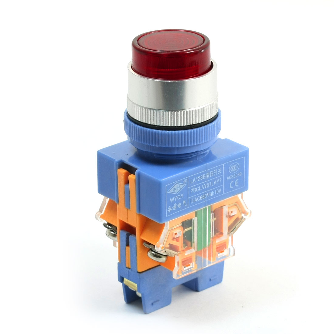 660V 10A DPST Momentary Action Type Red Lamp Push Button Press Switch
