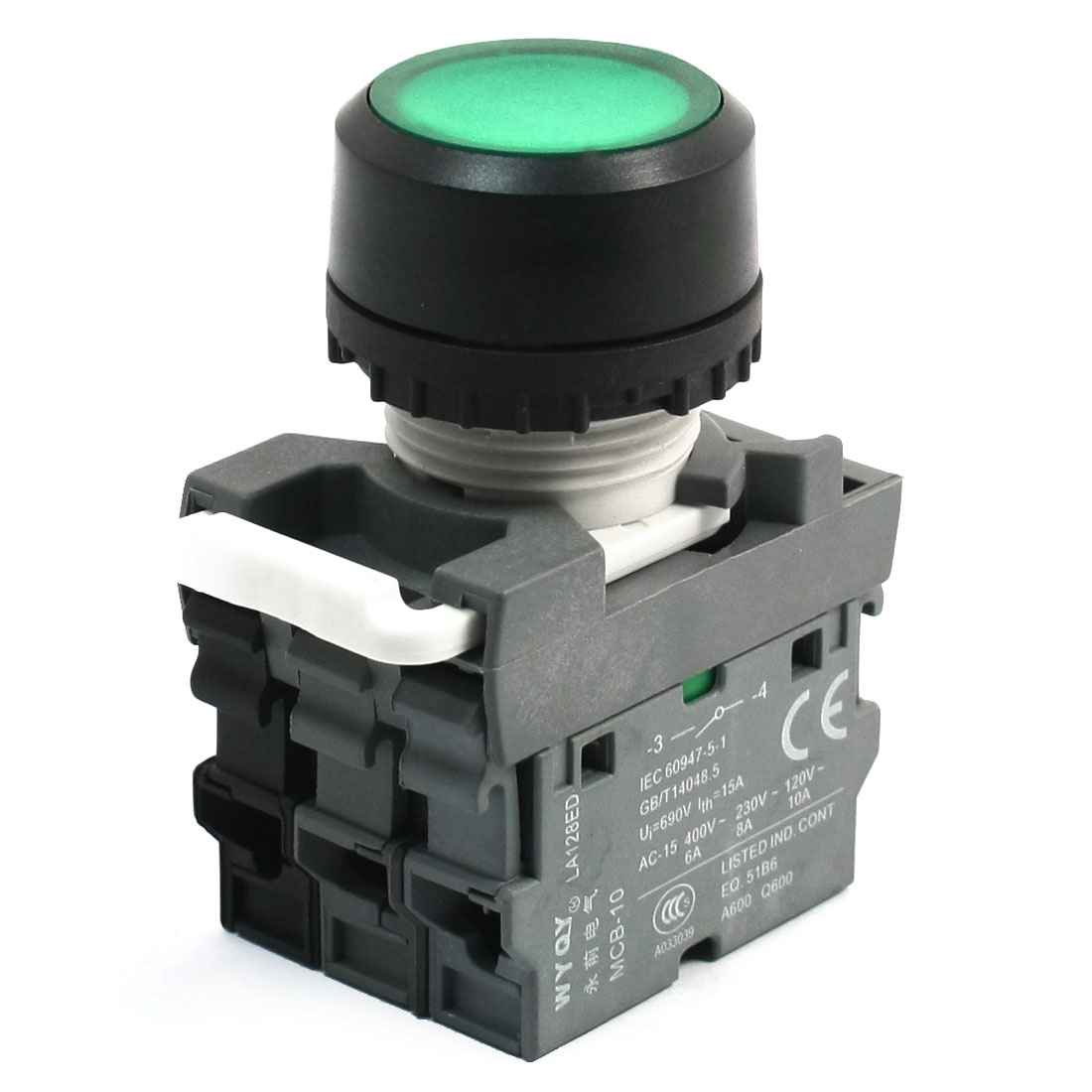 DPST Momentary Action Type Green Indicator Lamp Push Button Switch 690V 10A