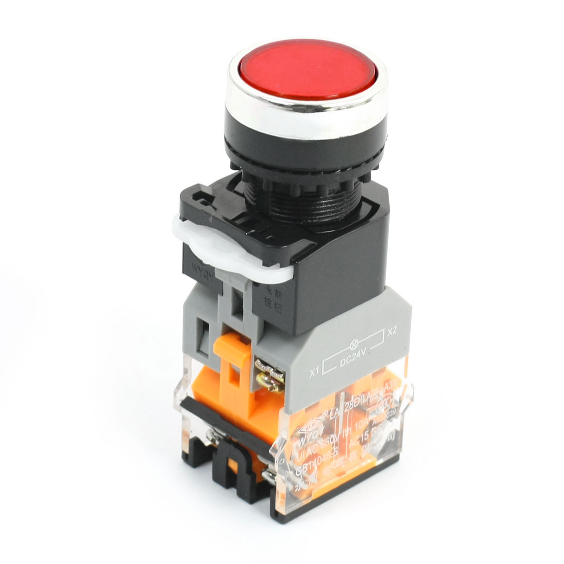 Red Light Round Cap Momentary DPST NO+NC Emergency Pushbutton Switch 660V 10A