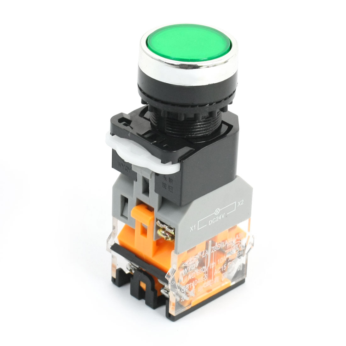 1NO 1NC Momentary Round Head Operator Green Light Push Button Switch 660V 10A