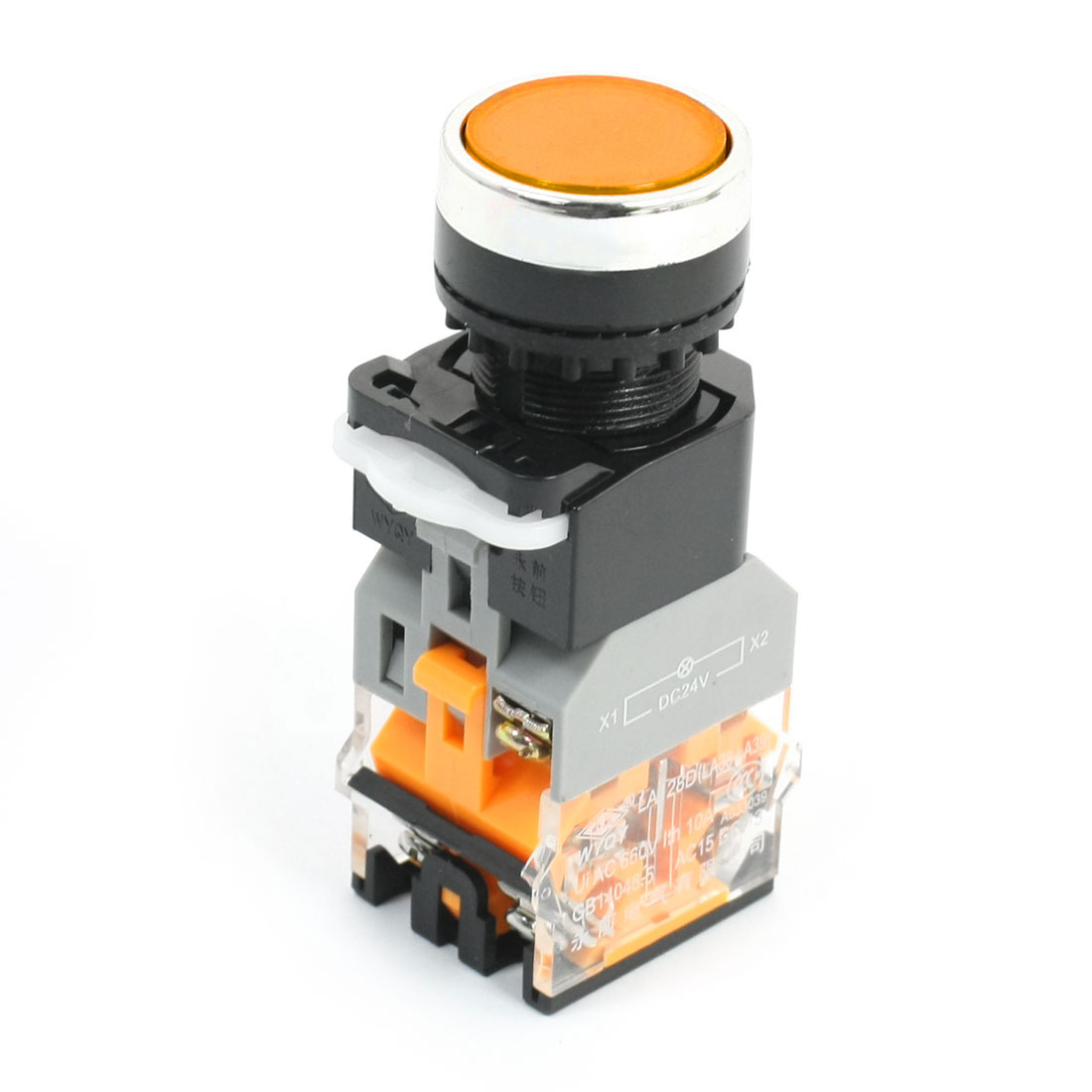 1NO 1NC Momentary Round Head Operator Orange Light Push Button Switch 660V 10A