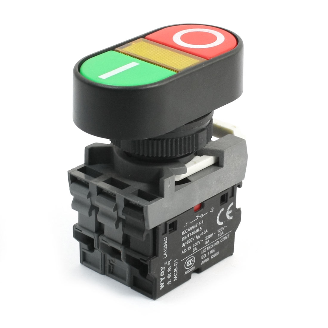 ON OFF Control 1NO+1NC Yellow Light Momentary Pushbutton Switch 690V 15A
