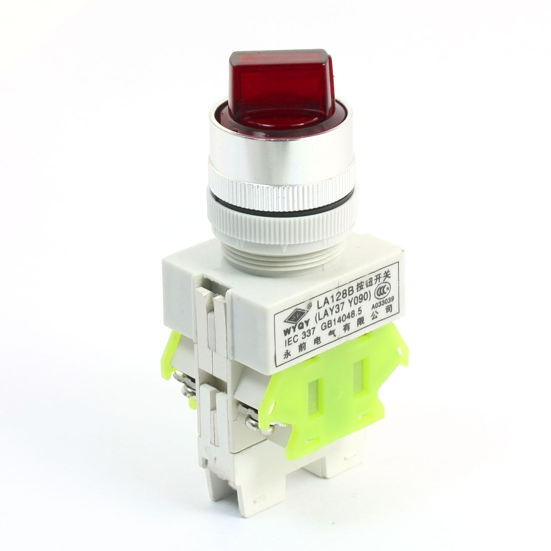 660V 10A 3 Selector Position Red Lamp Latching 1NO+1NC DPST Rotary Switch