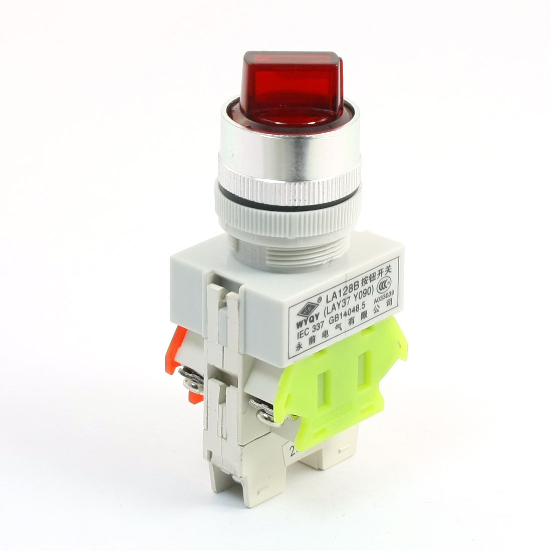 660V 10A 3 Selector Position Red Light Self Locking 1NO+1NC DPST Rotary Switch