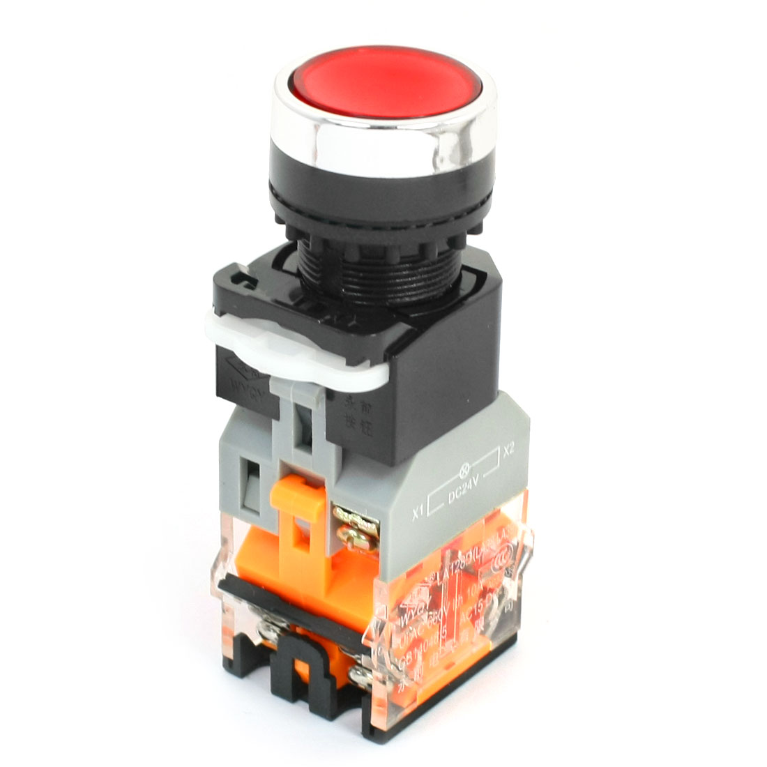 DPST Latching Round Head Operator Red Indicator Light Push Button Switch 660V 10A