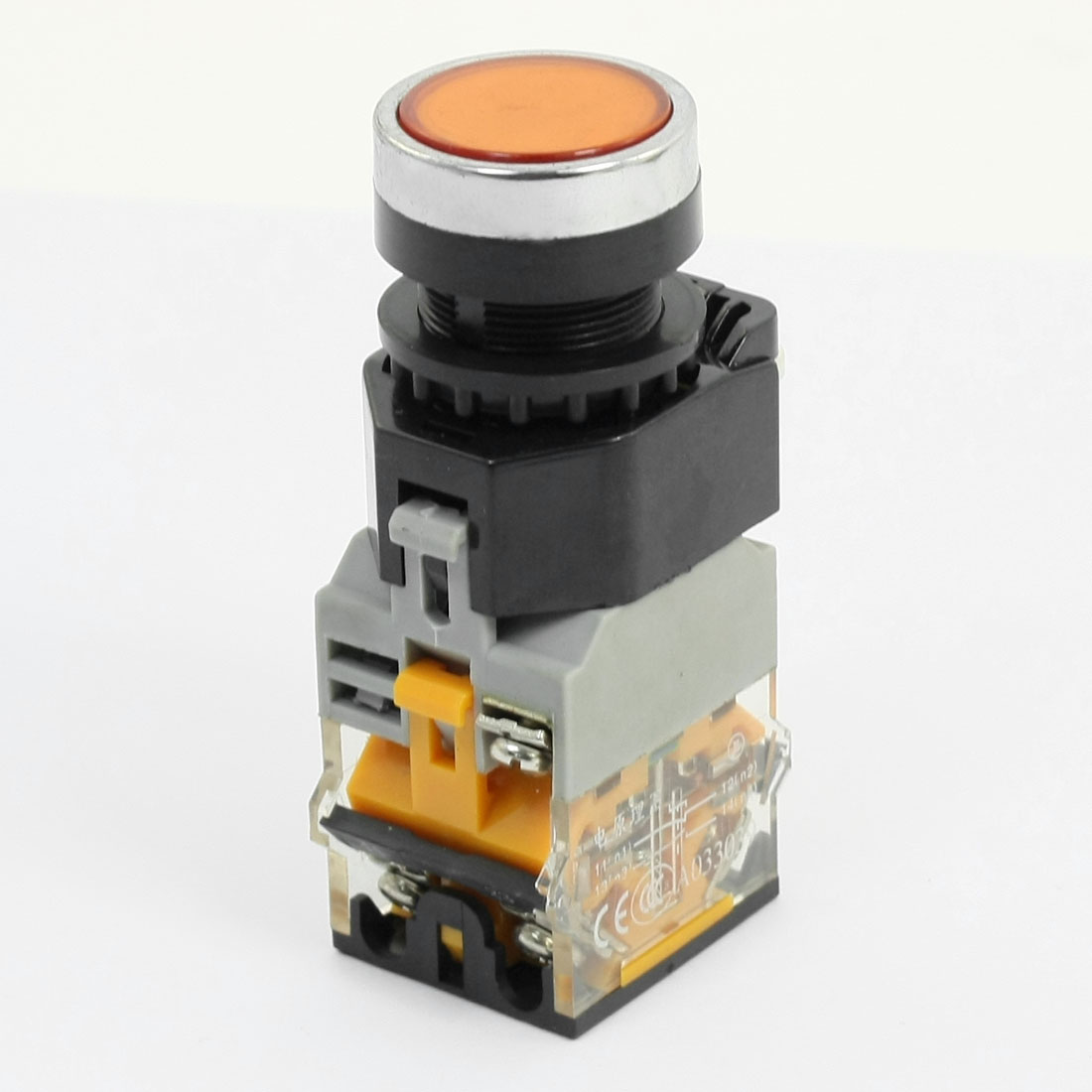 1NO 1NC Latching Round Head Operator Orange Indicator Light Push Button Switch 660V 10A
