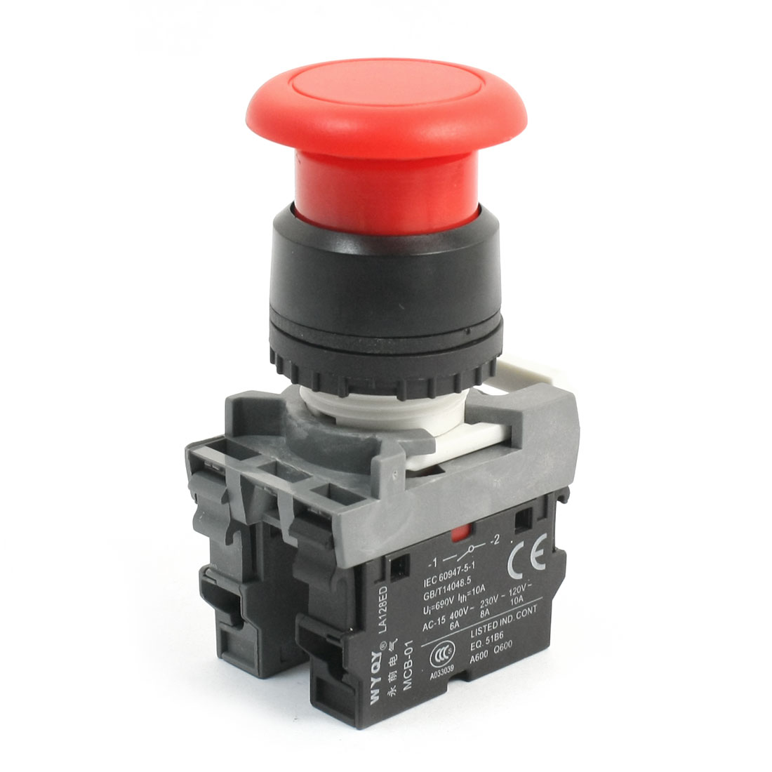 690V 10A 1NO 1NC DPST Momentary Red Mushroom Head Push Button Pushbutton Switch