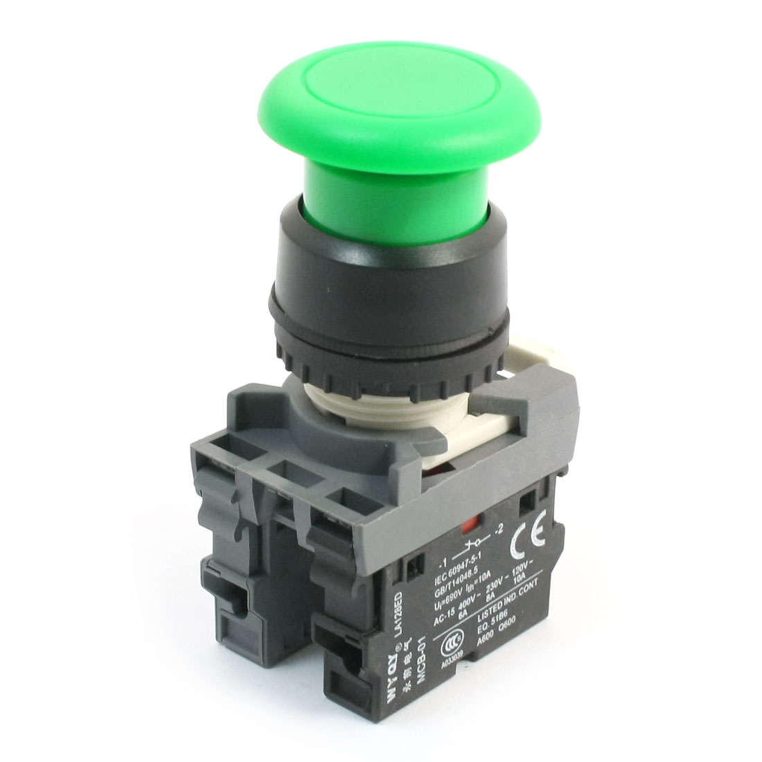 690V 10A 2NO DPST Momentary Green Mushroom Head Push Button Pushbutton Switch