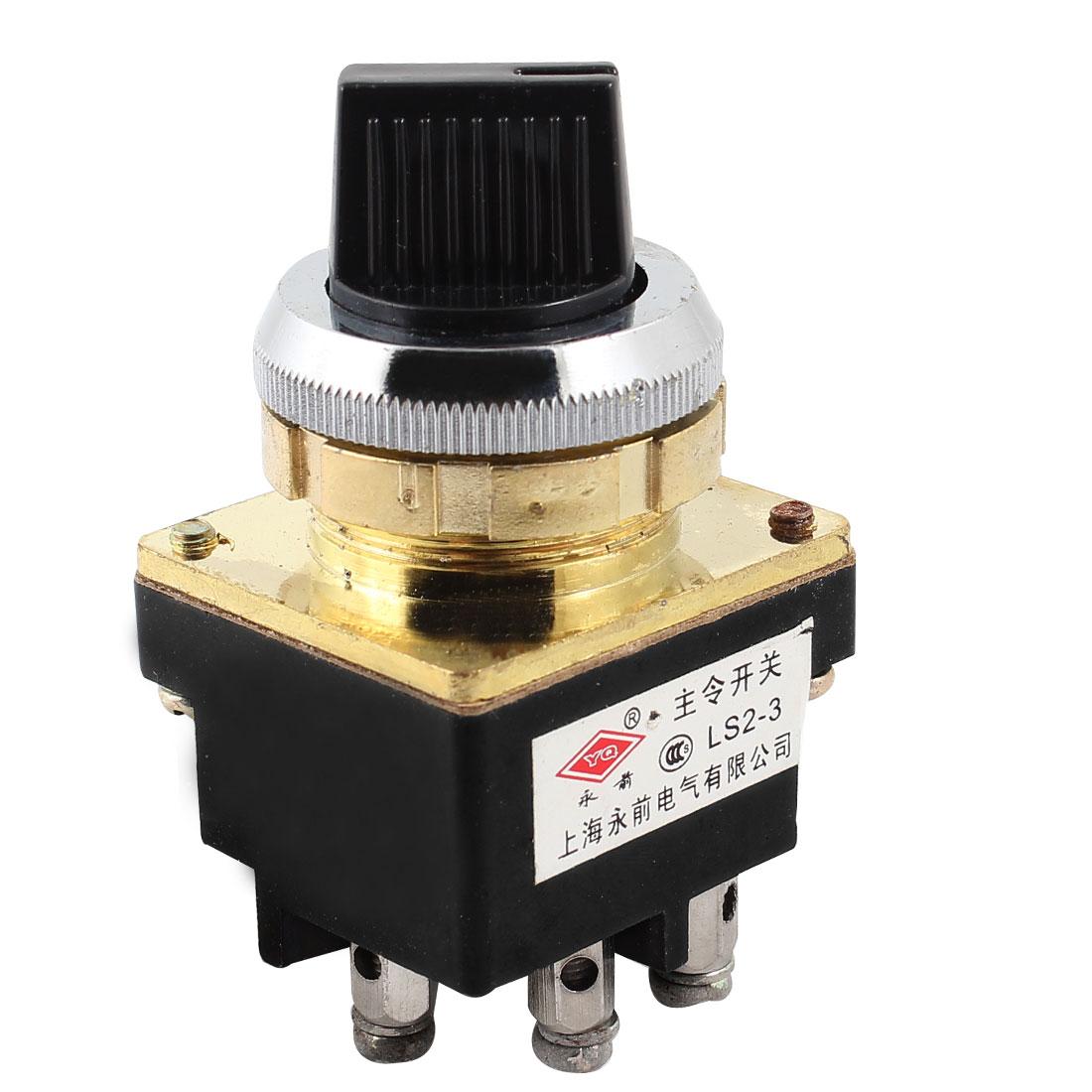 LS2 Series DPST 1NO+1NC 3P Latching Rotary Control Switch 380V 6A 220V 8A 127V 10A