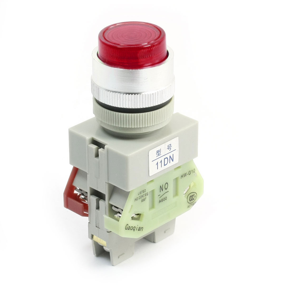 DPST Momentary Red Light Round Head Operator Push Button Switch 660V 10A