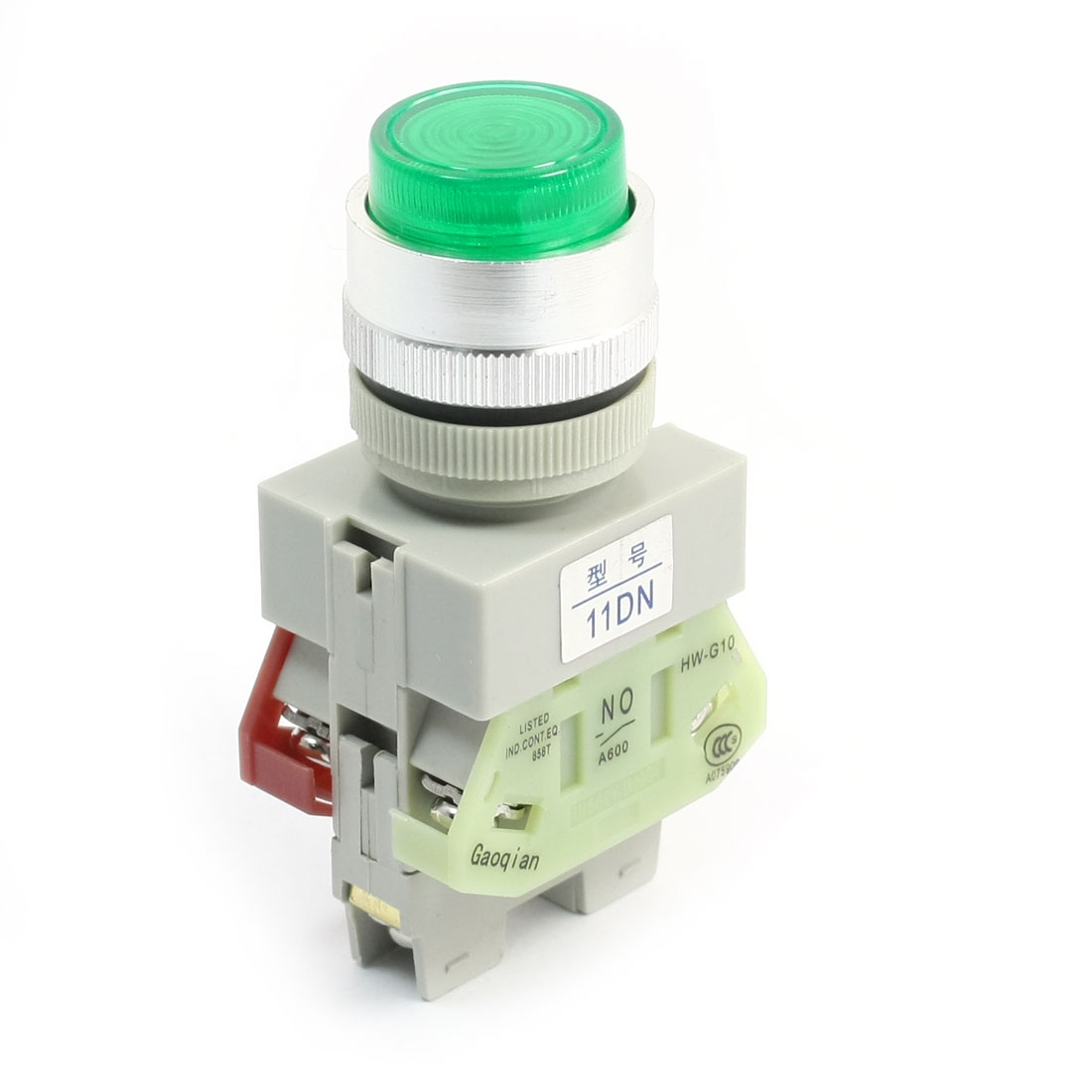 Industrial Momentary DPST Green Indicator Light Push Button Switch 660V 10A