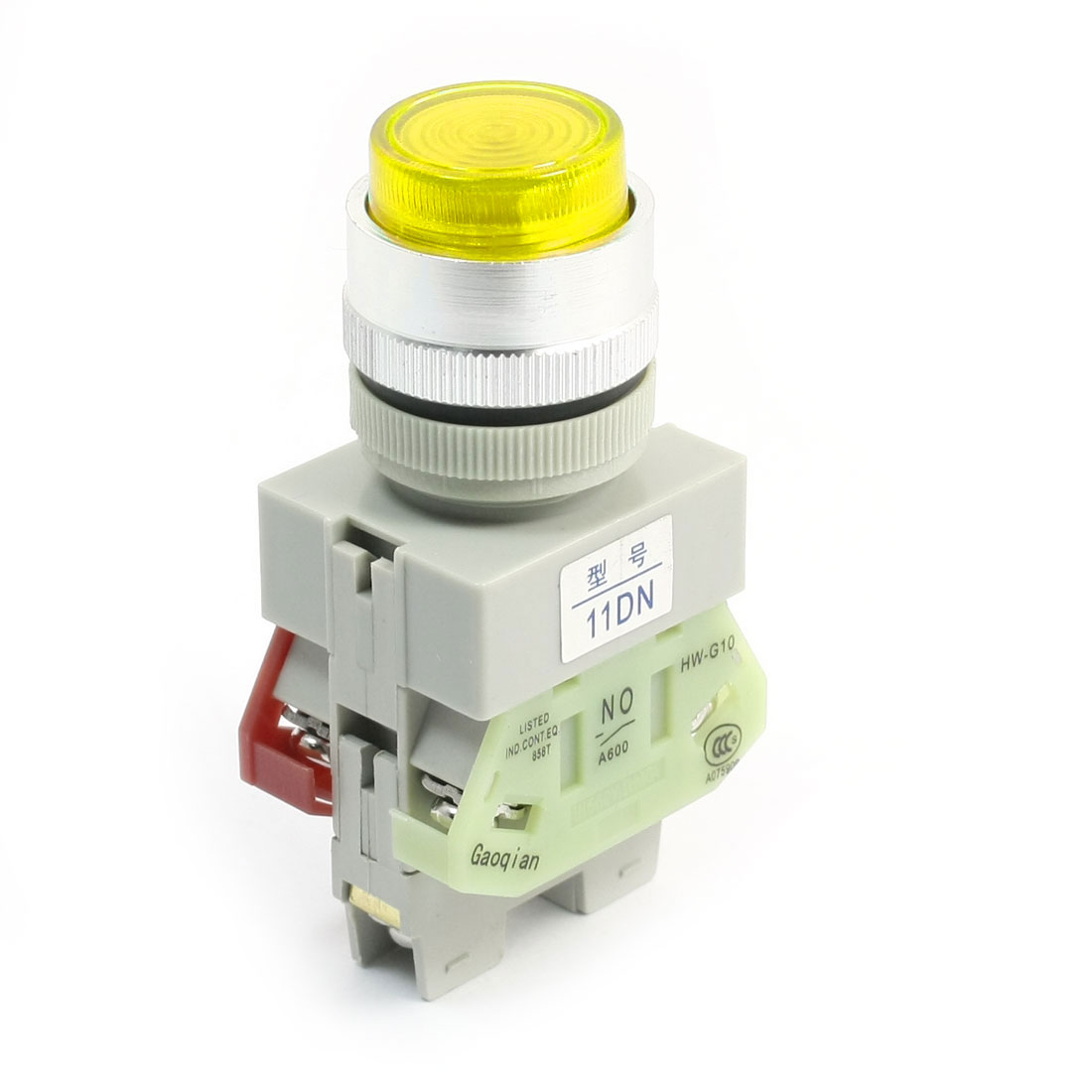DPST Momentary Yellow Light Round Head Operator Push Button Switch 660V 10A