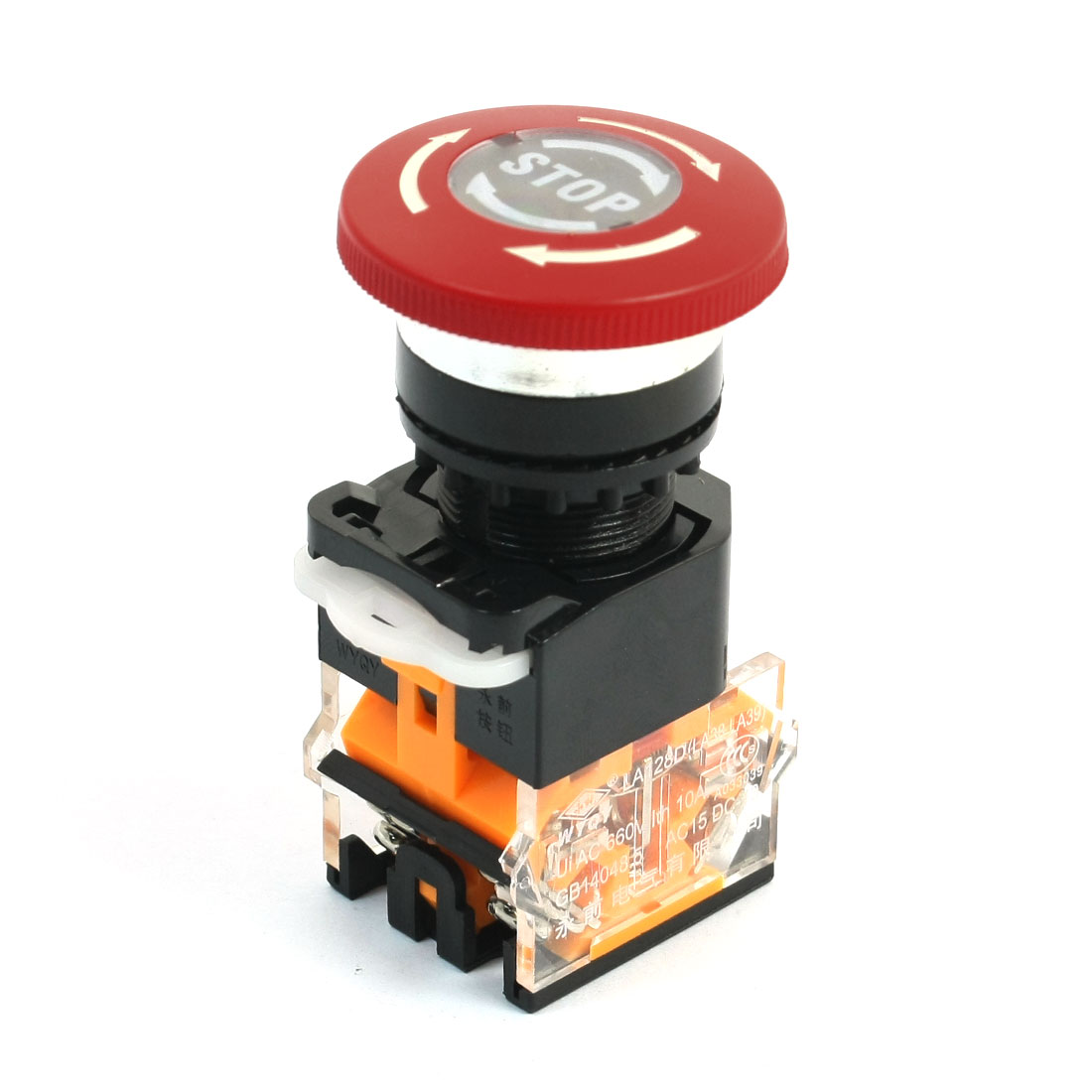 DPST Locking Emergency Stop Mushroom Head Control Pushbutton Switch AC 660V 10A