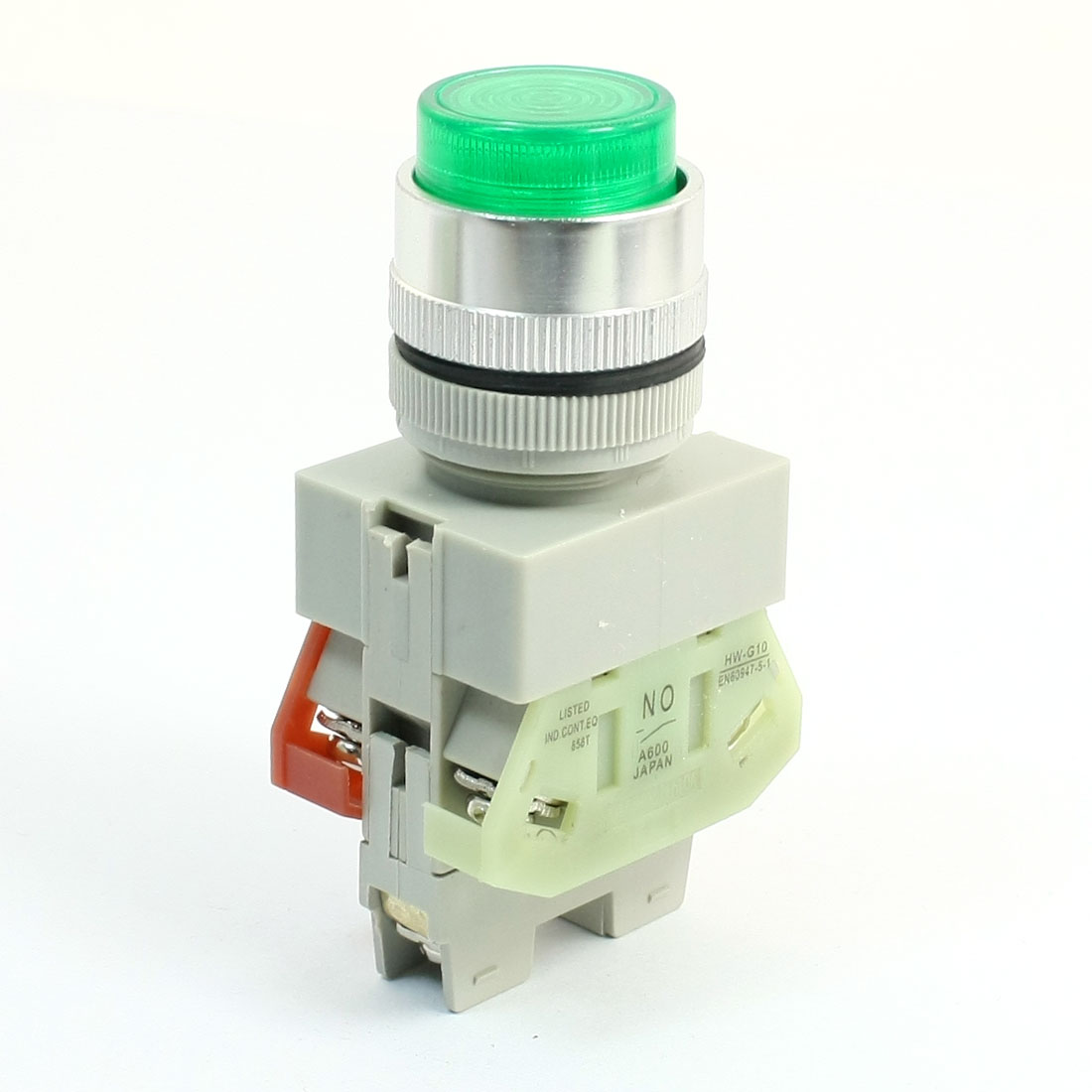 660V 10A DPST Locking Action Type Green Light Push Button Press Switch