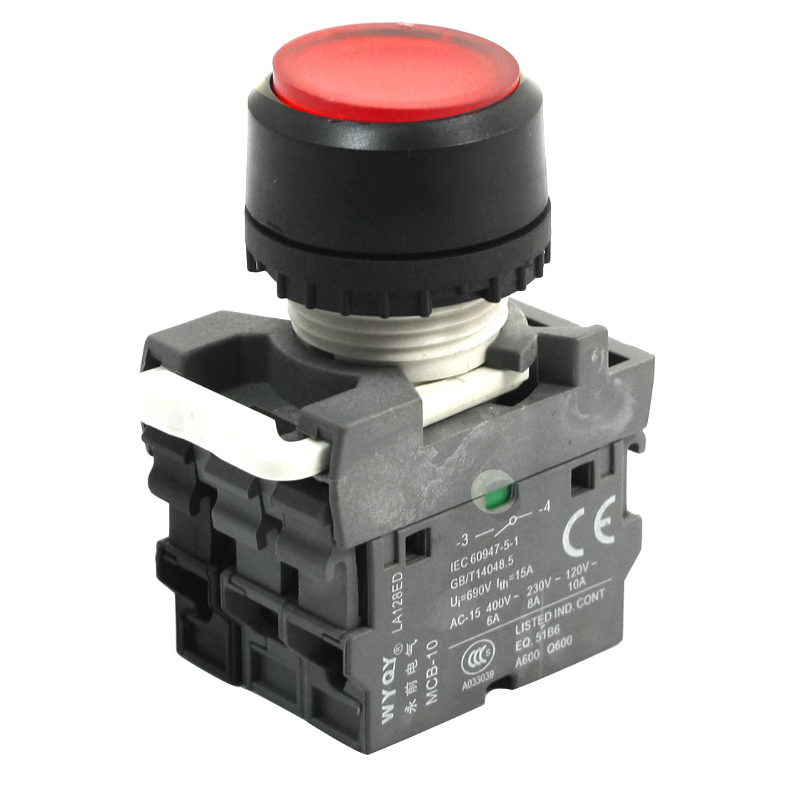 690V 15A DPST Self-locking Red Lamp Round Head Operator Push Button Switch