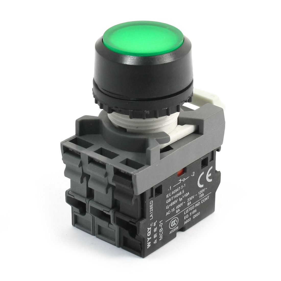 690V 15A DPST Self-locking Green Lamp Round Head Operator Push Button Switch