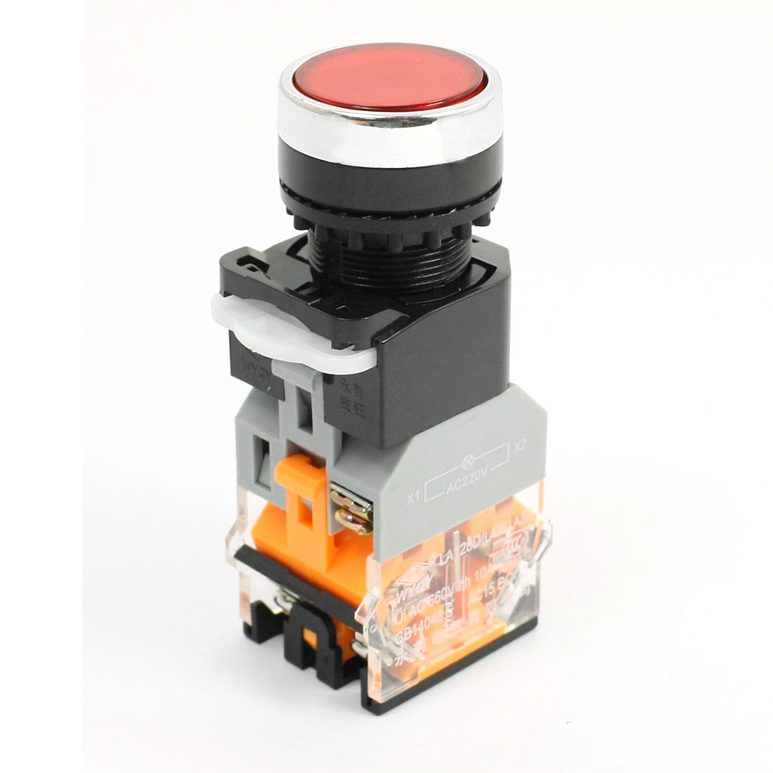 660V 10A Momentary Red Indicator Lamp Pushbutton Push Button Press Switch
