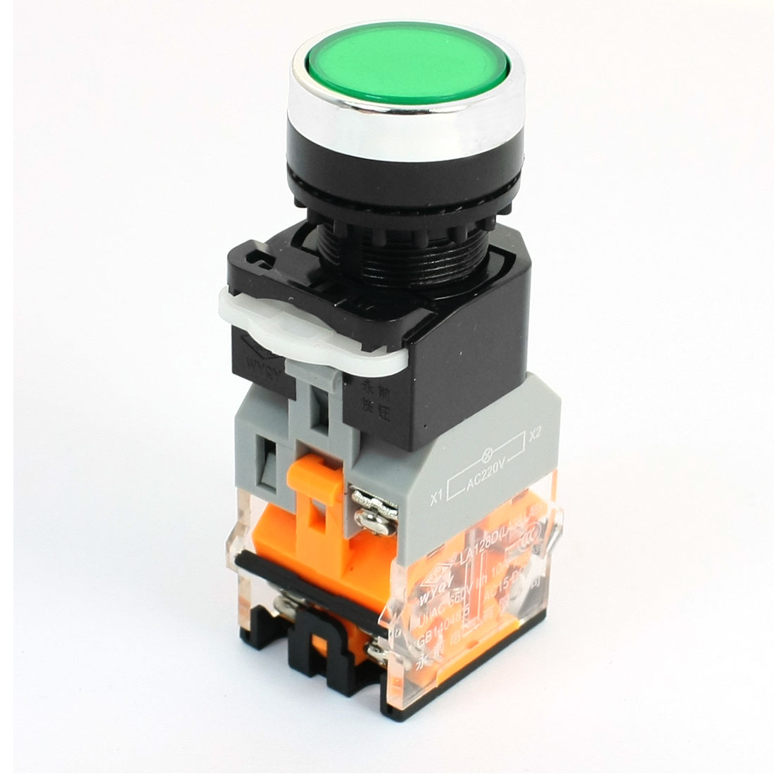 Machine Start DPST Momentary 1NO+1NC Green Lamp Push Button Switch 660V 10A