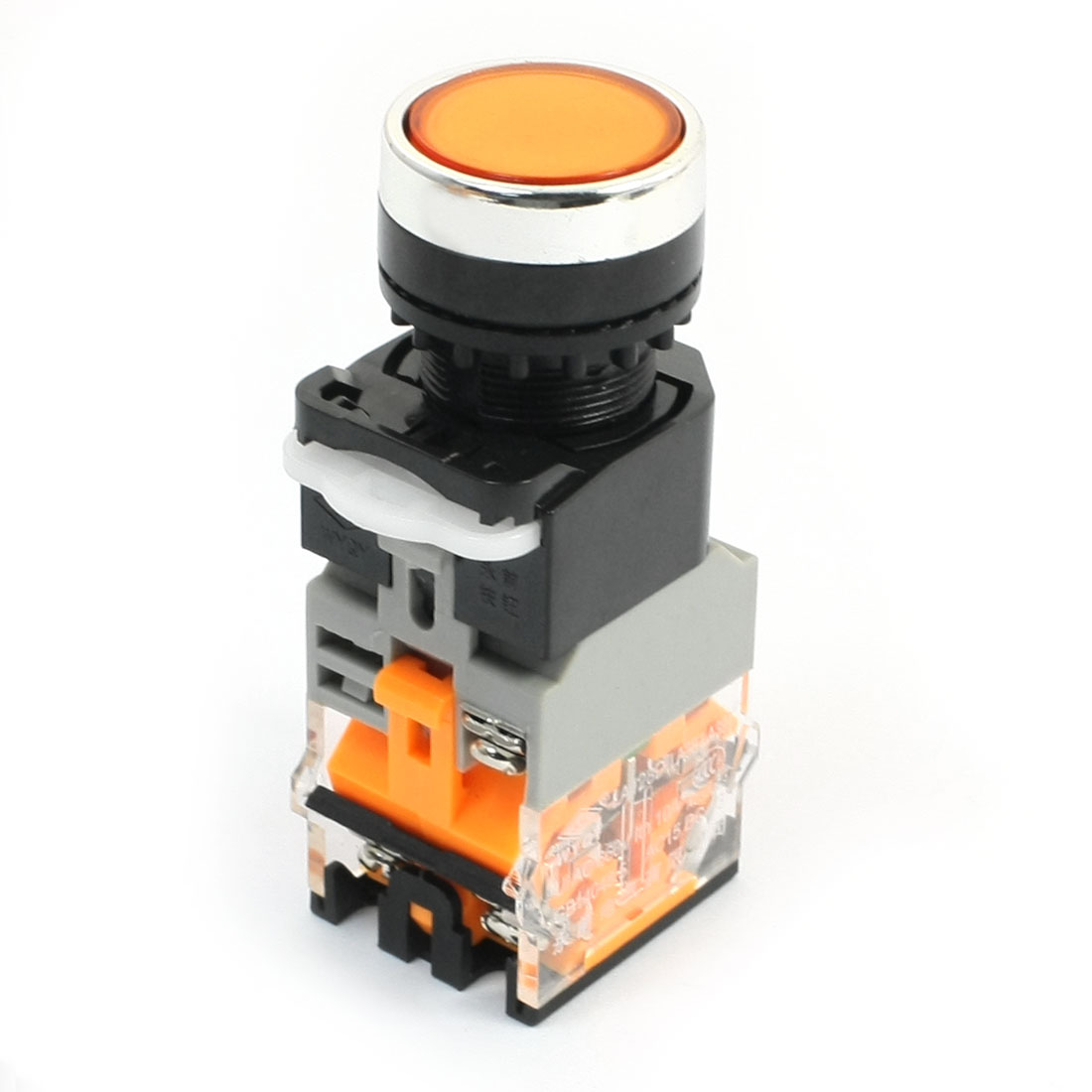 Machine Start DPST Momentary 1NO+1NC Orange Lamp Push Button Switch 660V 10A
