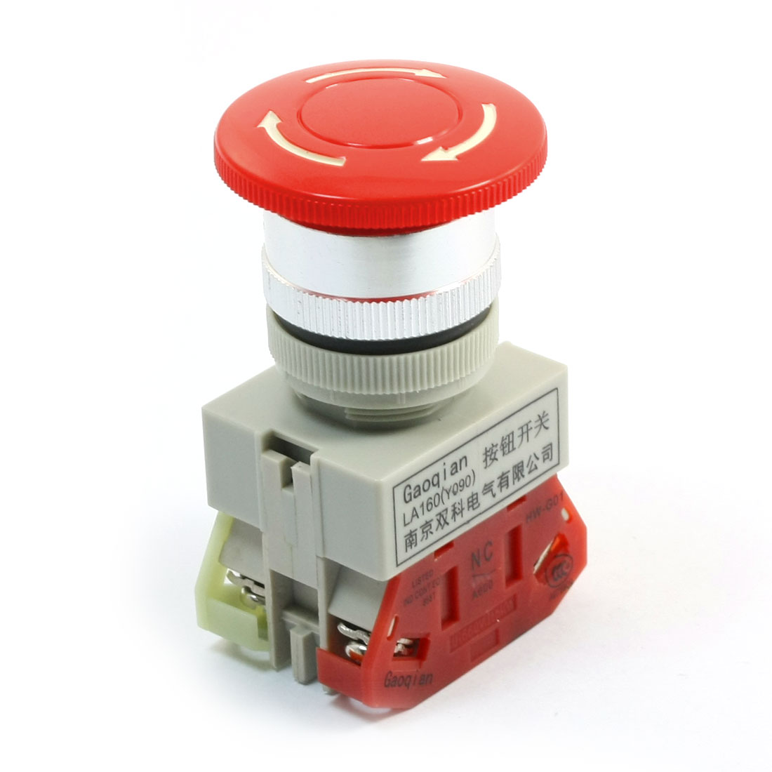 600V 10A DPST Locking Red Mushroom Head Emergency Stop Push Button Switch